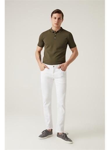 Damat Damat Slim Fit Beyaz Denim Pantolon Beyaz